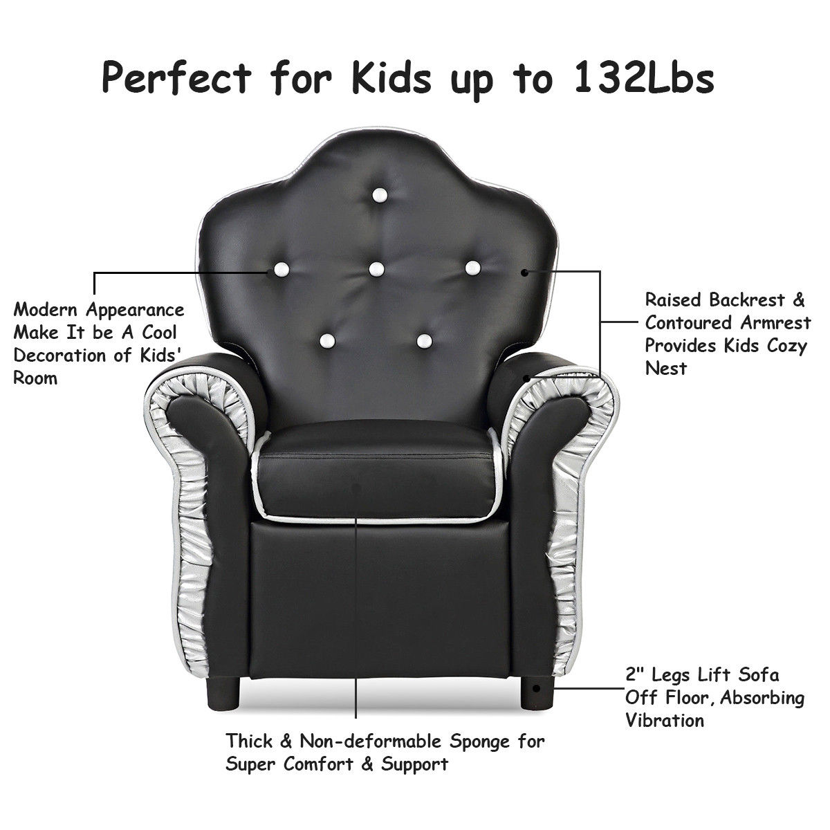 Amazing Costway Children Recliner Kids Sofa Chair Couch Living Room Furniture Black Dailytribune Chair Design For Home Dailytribuneorg