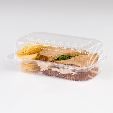 Plastic Hinged Boxes - Detroit Forming LBH-523 Clear OPS Plastic Hinged Locking Lid Food Container 7.75 x 3.75 x 3.5 Inch | 500/Case