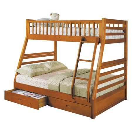 ACME Jason Twin over Full Bunk Bed with 2 Drawer in Honey Oak, Multiple