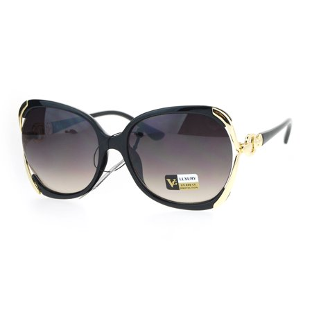 Diva Womens Sunglasses (Womens Exposed Lens Designer Fashion Diva Buckle Arm Sunglasses Black)