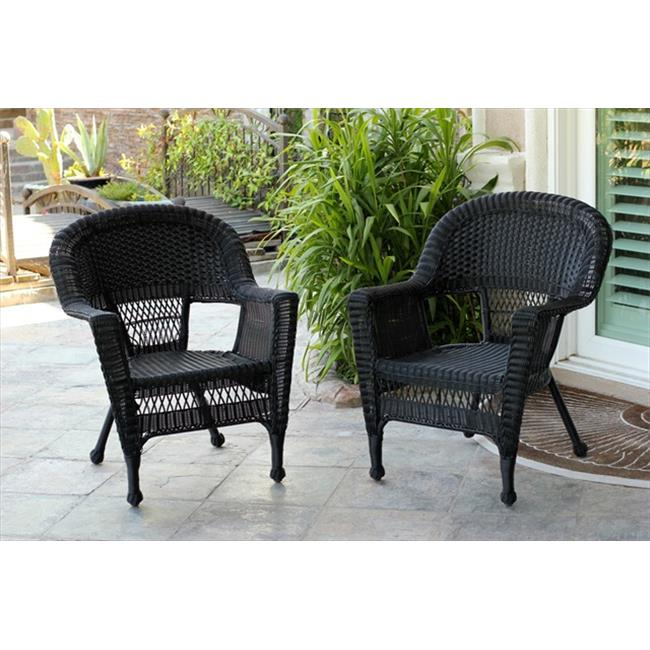 Jeco W00207 2-CES 3 Piece Black Wicker Chair And End Table Set Without Cushion