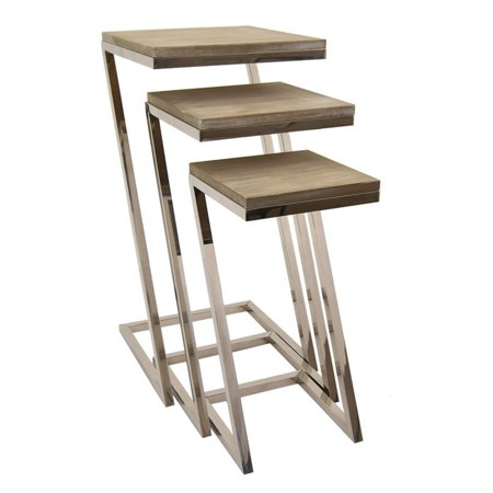 buy popular dad6d 908aa Three Hands Metal and Wood Nesting C-Tables - Set of 3