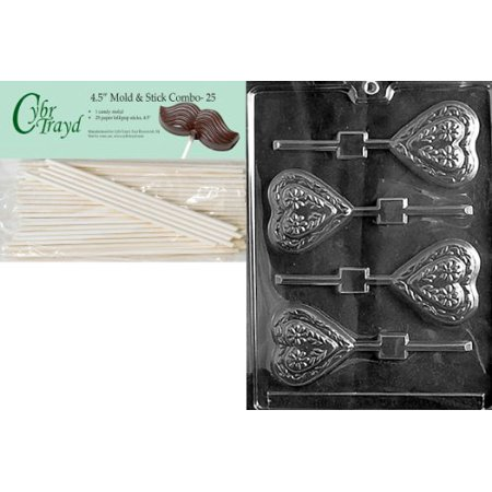 Cybrtrayd 45St25-V030 Swiss Heart Lolly Valentine Chocolate Candy Mold with 25 4.5-Inch Lollipop Sticks