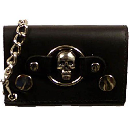 Skull Logo Genuine Leather Trifold Biker's Wallet ID Card Holder w/ Chain 1046-6 (C)