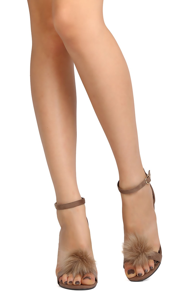 New Women Breckelles Sydney-48 Faux Suede Pom Pom Stiletto Sandal