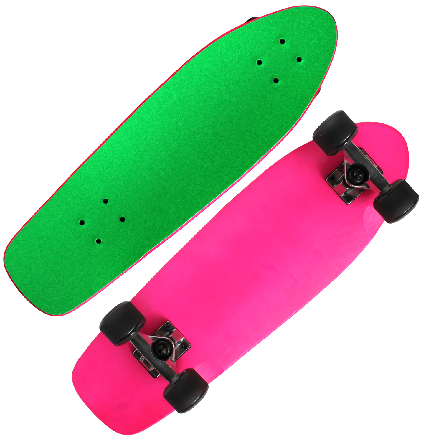 PINK & GREEN BEACH CRUISER SKATEBOARD COMPLETE Kicktail Mini Shape MAPLE 8x26.5