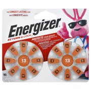 Energizer Hearing Aid Batteries Size 13, 16 Pack, Orange Tab