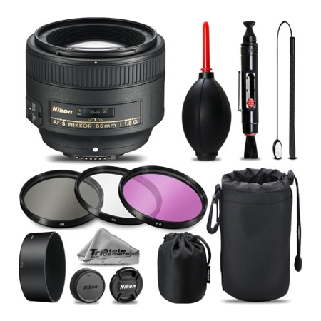 Nikon AF-S NIKKOR 85mm f/1.8G Lens For D3000, D3100, D3200, D3300, D5000, D5100, D5200, D5300, D5500, D7000, D7100 Nikon Digital SLR. All Original Accessories Included - International (Best Low Light Lens For Nikon D7000)