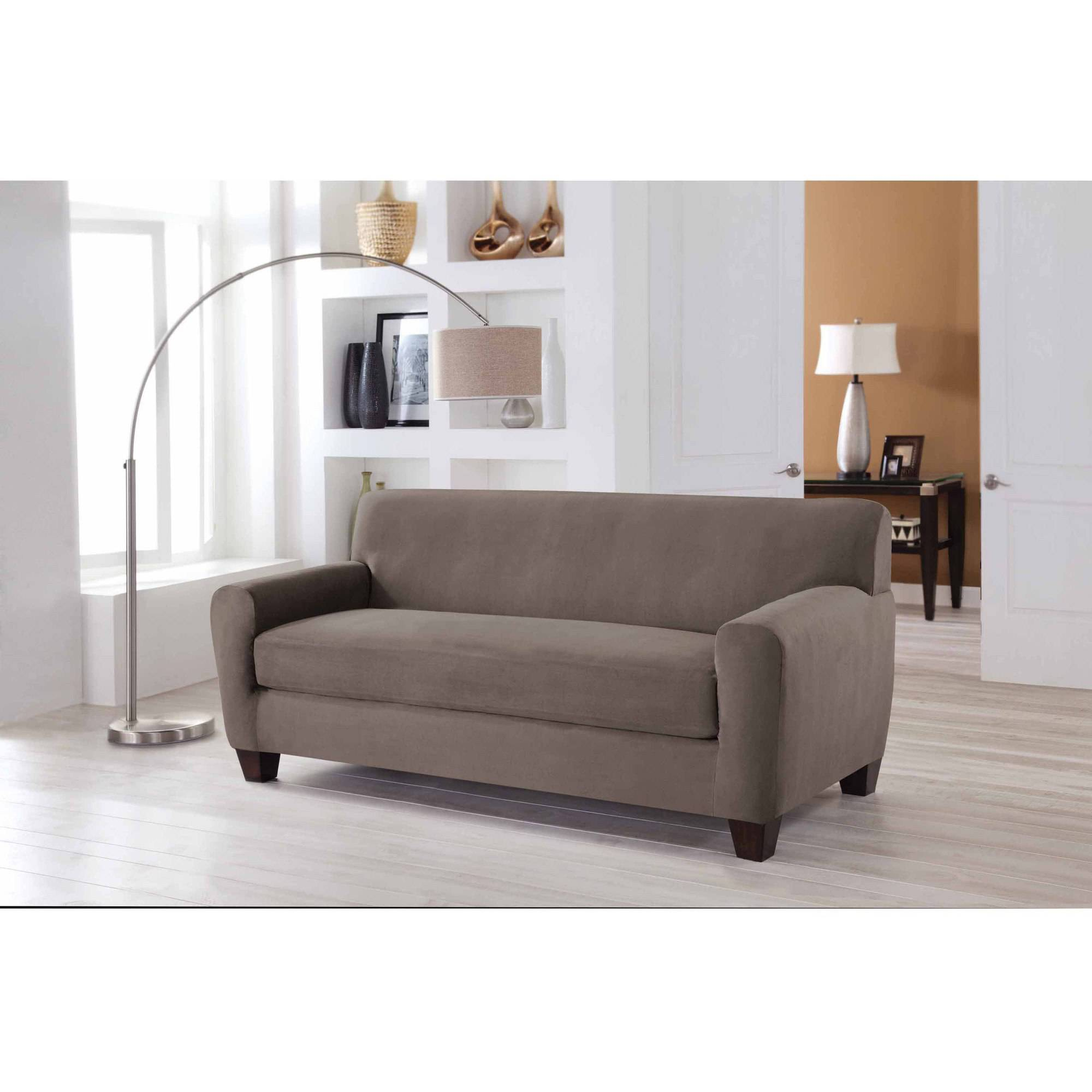 Serta Stretch Fit Microsuede Slipcover Sofa 2 Piece Box Cushion