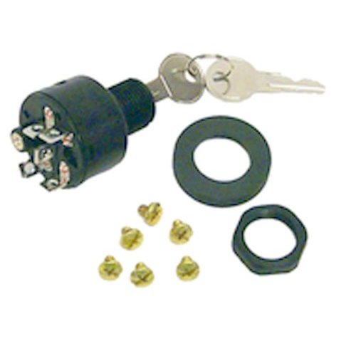 """STANDARD 3/"""" INBOARD 3 POSITION 3 TERMINAL UNIVERSAL BRASS BOAT IGNITION SWITCH"""