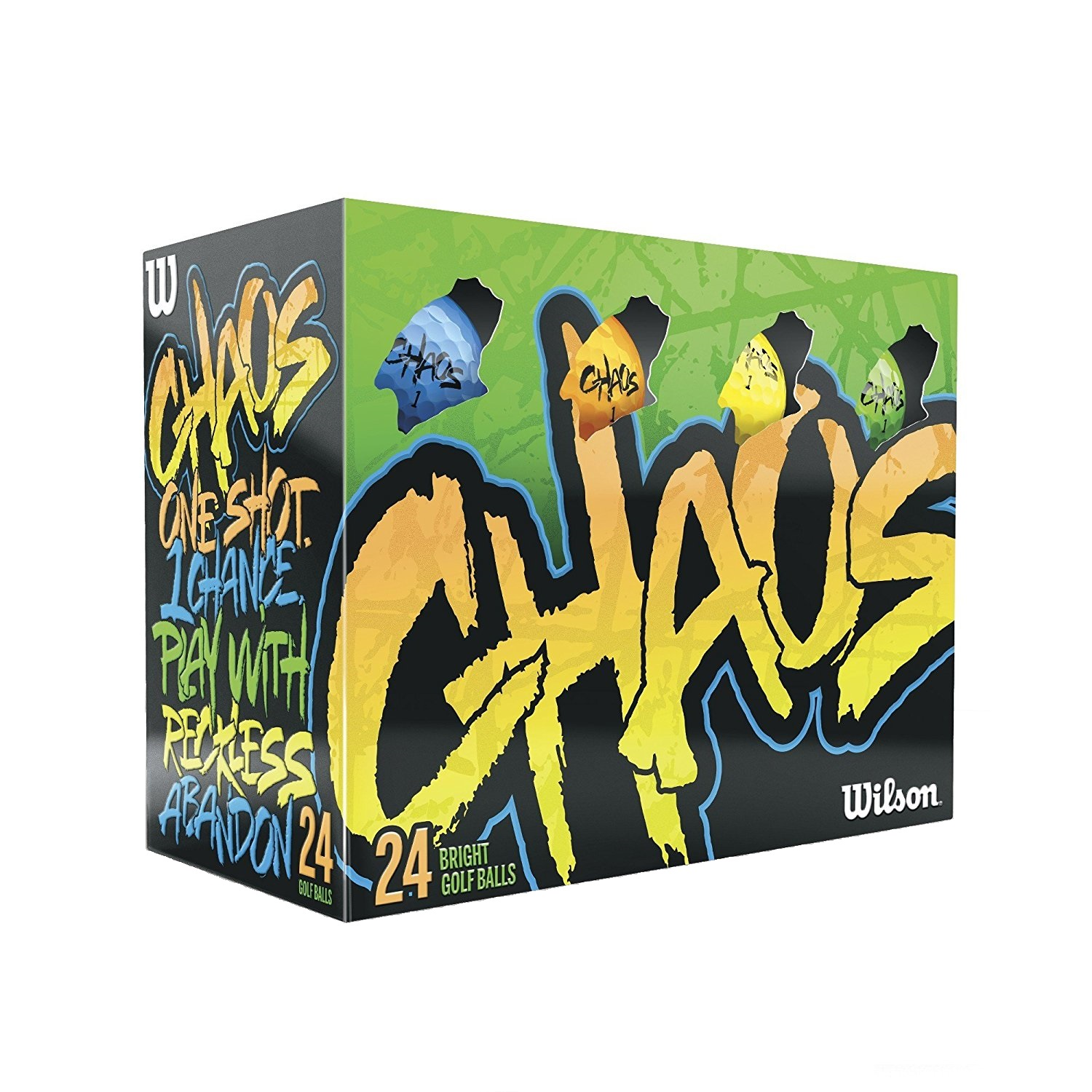 Wilson Chaos Golf Balls, 24 Ball Pack - Multi-Color