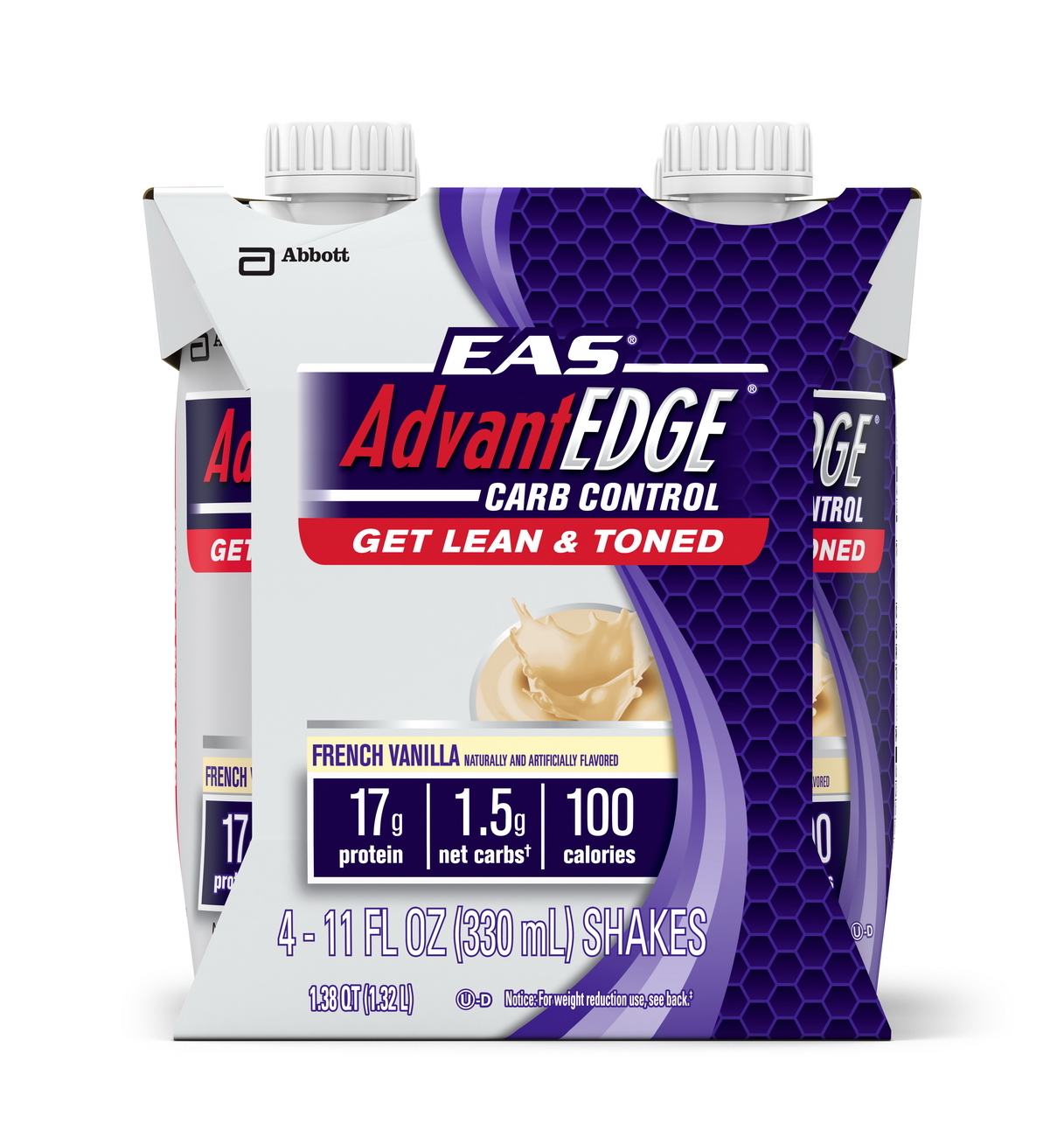 EAS AdvantEDGE Carb Control Ready-to-Drink Shake, French Vanilla, 11 fl oz (Pack of 4)