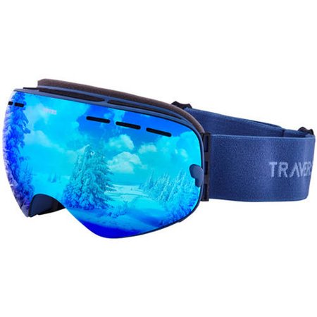 Traverse Virgata Ski, Snowboard, and Snowmobile Goggles, Midnight with Cobalt REVO Blue Lens