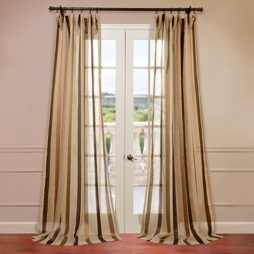 Half Price Drapes Carlton Jacquard Stripe Sheer Single Curtain Panel