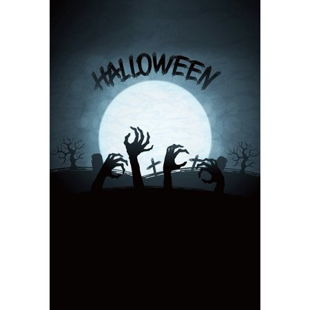 GreenDecor Polyster 5x7ft Halloween Scary Zombies Graves Full Moon Tree Silhouette Photography Backdrops Indoor Studio Backgrounds Photo Props (Scary Tree Silhouette Halloween)
