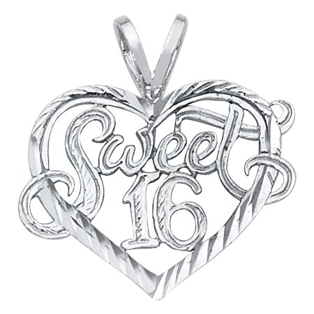 Open Heart Love Sweet 16 Charm Diamond Cut 14k White Solid Real Gold 16 mm x 19mm Pendant Necklace Fine Jewelry Accessory (1970 Jewelry Accessories)