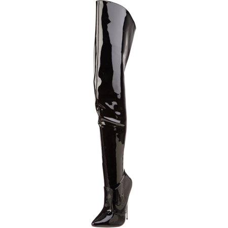 Womens Metal High Heels Black Thigh High Boots Fetish Bedroom Shoes 6 Inch - 6 Inch High Heel Shoes