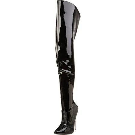Womens Metal High Heels Black Thigh High Boots Fetish Bedroom Shoes 6 Inch Heel