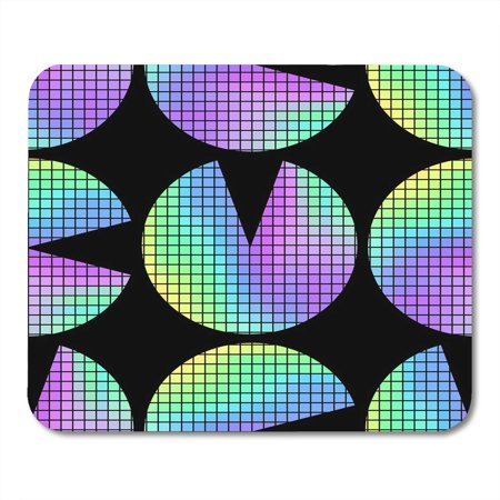 - KDAGR Abstract Colorful 80S Holographic Circles on Black in Minimalist Style Iridescent Figures 8 90S Aesthetic Mousepad Mouse Pad Mouse Mat 9x10 inch
