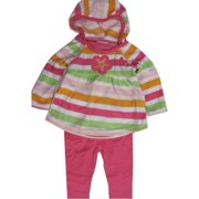 Baby Girls Pink Striped Butterfly Applique 2 Pc Leggings Set 12-24M