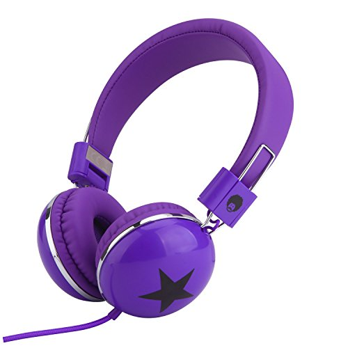 RockPapa 828 On Ear Star Headphones Foldable, Adjustable Headband for Kids Childrens Boys Girls, iPhone iPod iPad Smartphones Tablets Computer DVD Purple