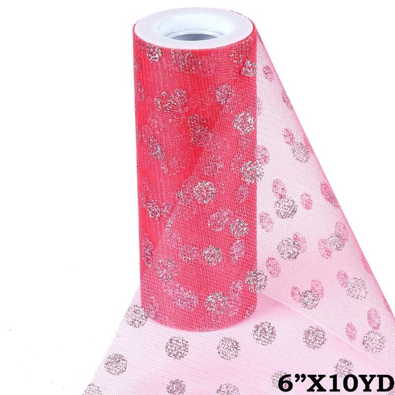 6 inch x 10 yards Glittered Polka Dot Tulle - Rose Quartz Pink