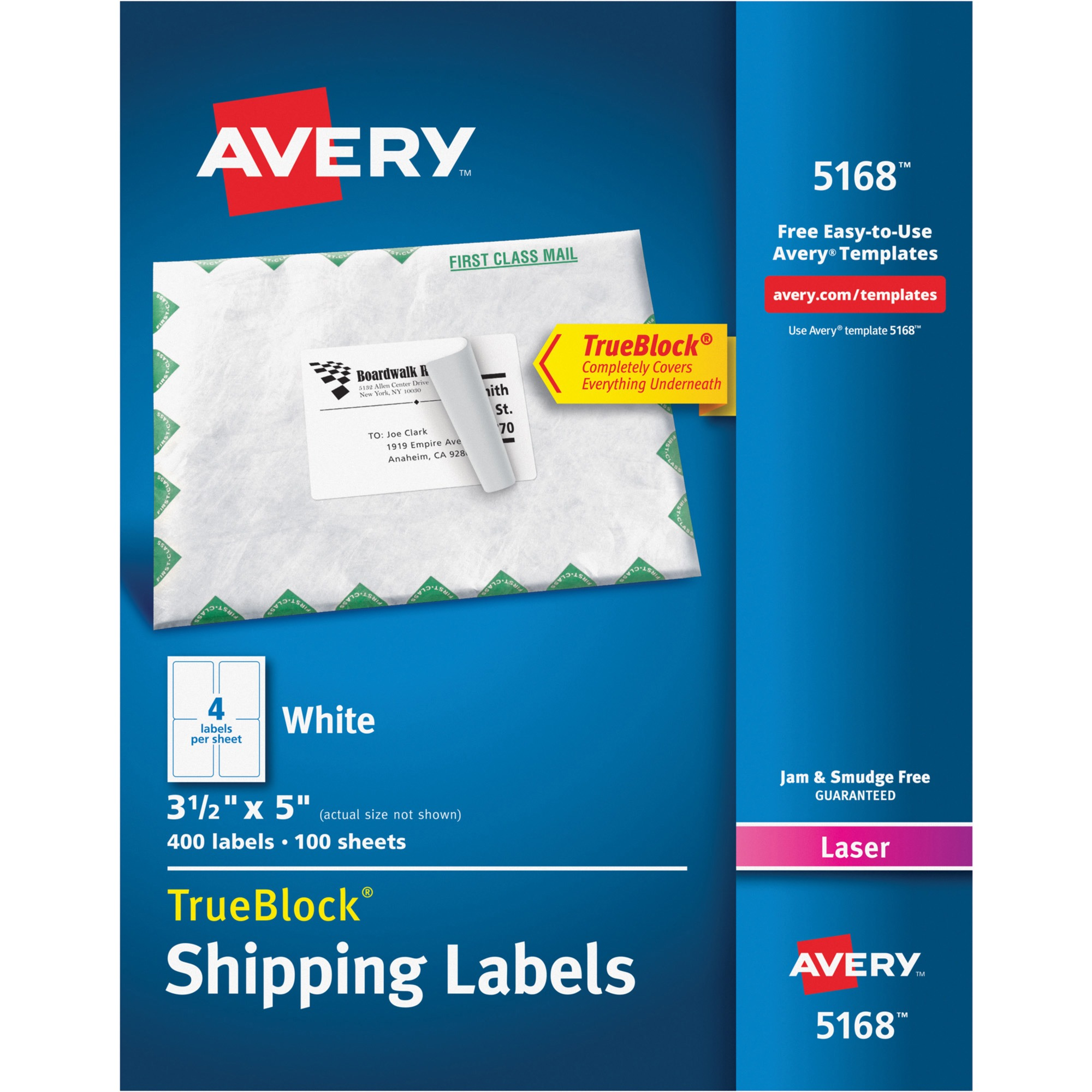"Avery(R) Shipping Labels with TrueBlock(R) Technology for Laser Printers 5168, 3-1/2"" x 5"", Box of 400"