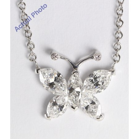 Marquis Diamond Pendant - 18k White Gold Invisible Setting Marquise Cut Diamond Butterfly Pendant (1.17 Ct, G Color, SI Clarity)