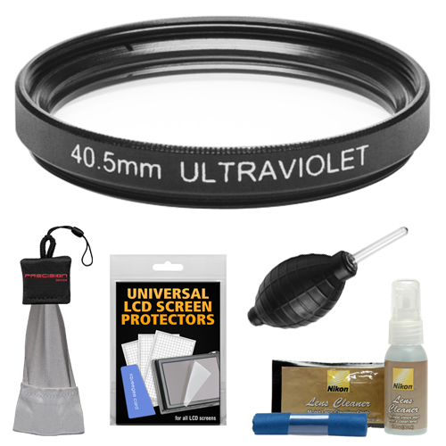 Sunpak 40.5mm UV Ultraviolet Glass Filter with Nikon Cleaning & Accessory Kit for Nikon 1 V1, J1 Interchangeable Lens Digital Camera with 10mm f/2.8, 30-110mm VR & 10-30mm Lens