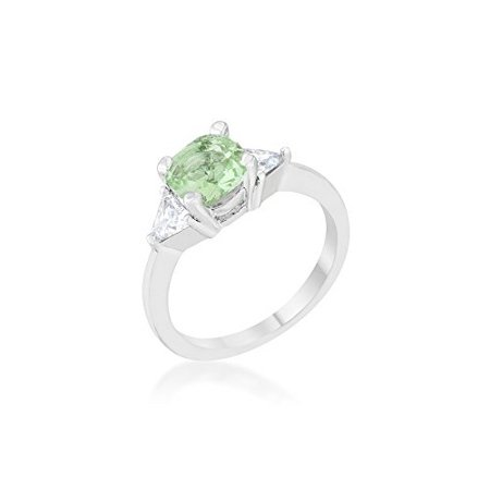Shonda 1.8ct Peridot CZ Rhodium Cushion Classic Statement Ring Size 5