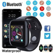 New Blue-tooth 3.0 Smart Watch Supports Android Phone SIM Card And Camera Life waterproof Activity Fitness Tracker HR Blood Oxygen Smartwatch (Black)
