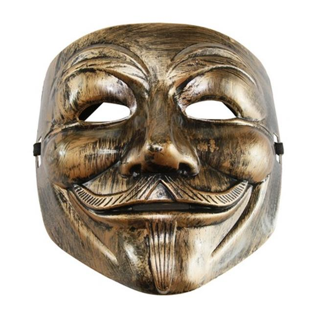 Silver V for Vendetta Guy Fawkes Plastic Costume Mask - One Size