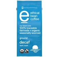 Ethical Bean Fairtrade Organic Coffee, Decaf Dark Roast, Ground Coffee, 8 oz. Bag