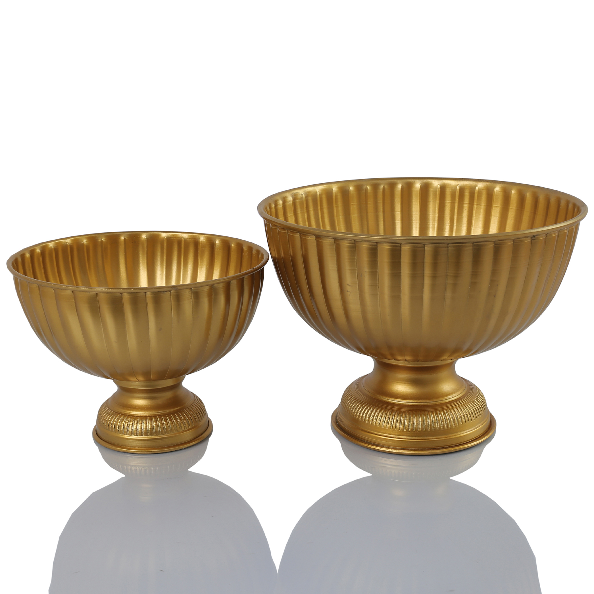 Koyal Wholesale Gold Metal Pedestal Bowl 6 x 6-Inch Floral Compote Vase, For Wedding Centerpiece