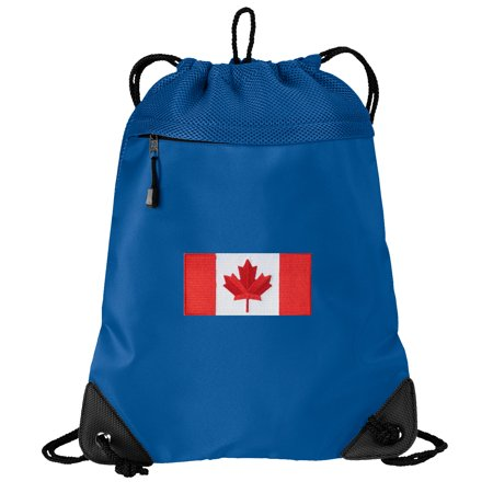 - Canada Flag Cinch Backpack Canada Drawstring Bag String Pack Mesh & Microfiber - Two Sections