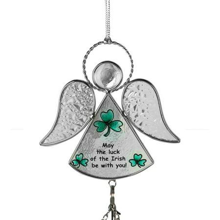 Glass Wind Chime Suncatcher (Irish Angel Suncatcher Wind Chime Stained Glass )