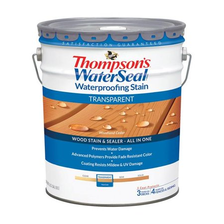 Transparent Stain Tip Kit - Thompsons Waterseal 1895150 Transparent Woodland Cedar Waterproofing Wood Stain & Sealer, 5 gal