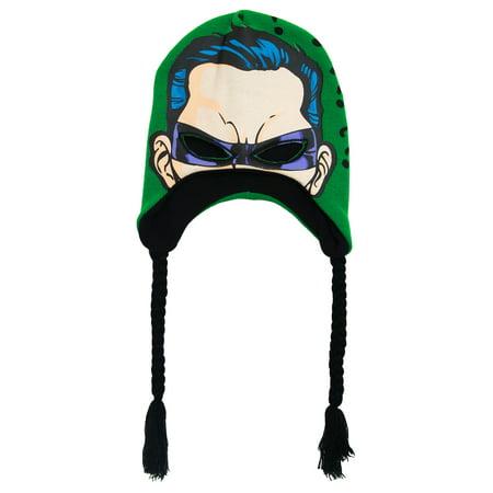 The Riddler DC Comics Batman Adult Mask Peruvian Laplander Beanie Winter Hat](Riddler Hat)