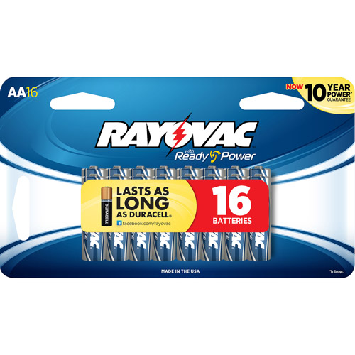 Rayovac Alkaline Value Pack AA Batteries, 16-Pack