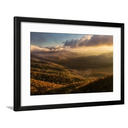 Misty Autumn Sunrise and Blue Ridge Mountains from Blue Ridge Parkway from Pounding Mill Overlook Framed Print Wall Art By Adam (Sunrise Mills)