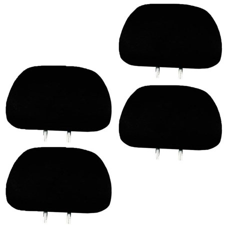 4 x Solid Black Universal Headrest Covers for Cars Trucks & Cover DVD tv Monitors - Set of 4
