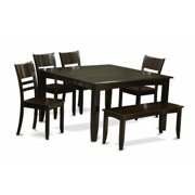 East West Furniture PFLY6-CAP-W 6 Piece Kitchen Table With Benchtable With Leaf and 4 Kitchen Chair Plus Bench