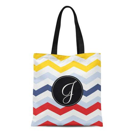 Artificial Handbag (LADDKE Canvas Tote Bag Blue Zig Chevron Multicolor Ai Red Zag White Line Reusable Handbag Shoulder Grocery Shopping)