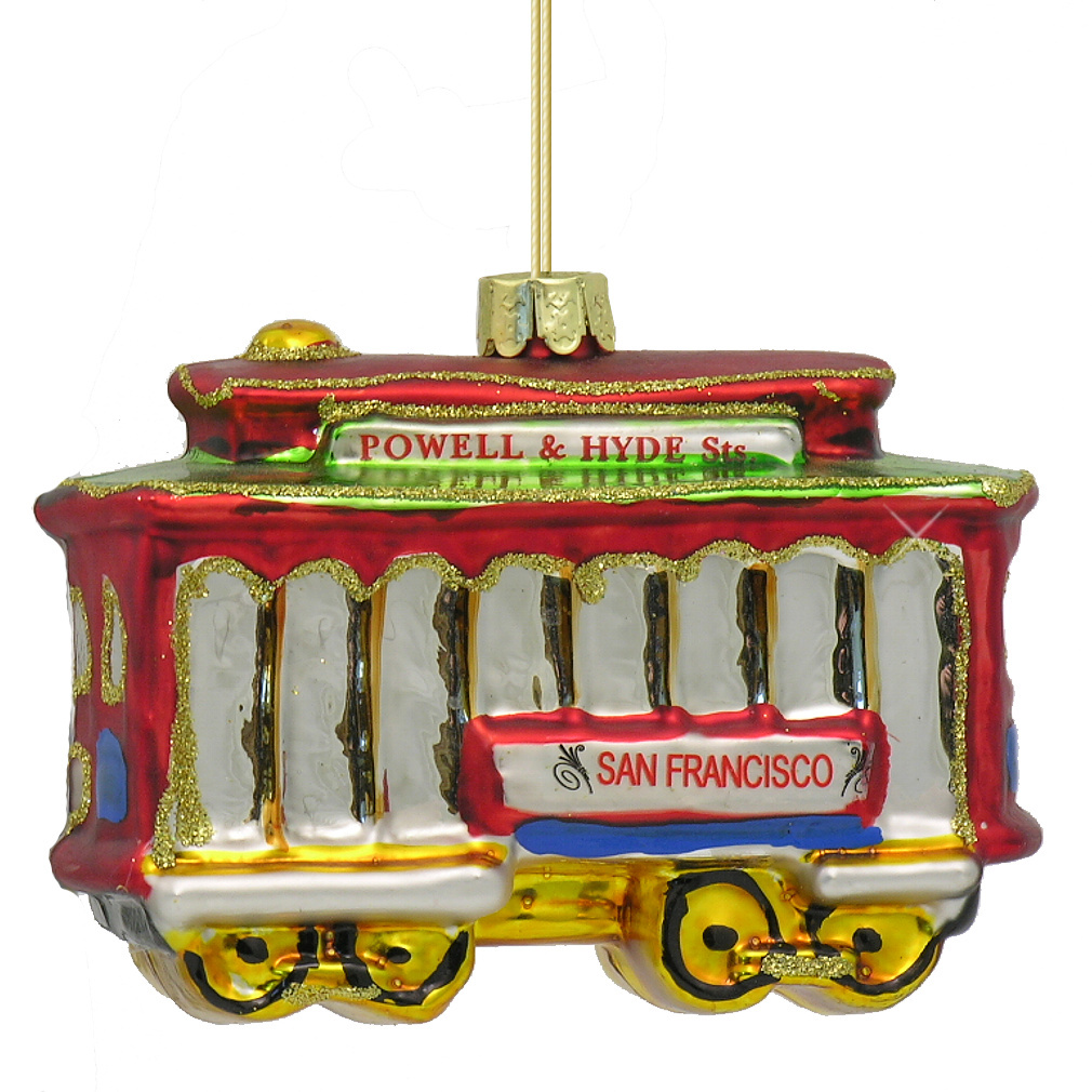 Kurt Adler Glass San Francisco Cable Car Ornament