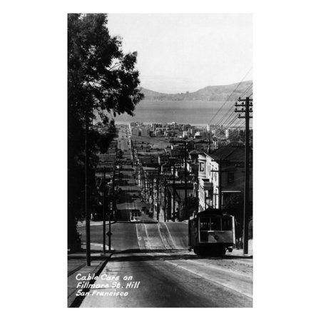 San Francisco, California - Cable Cars on Fillmore Street Hill Laminated Print Wall Art By Lantern