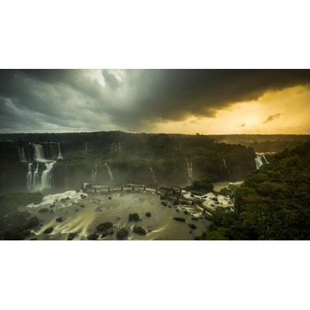 - Elevated view of Devils Throat falls Iguacu Falls Iguacu National Park Brazil Poster Print