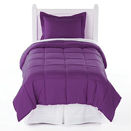 Twin Solid Comforter & Sham Set - Plum