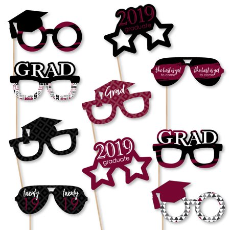 Maroon Grad - Best is Yet to Come - Glasses - Burgundy 2019 Paper Card Stock Graduation Photo Booth Props Kit - 10