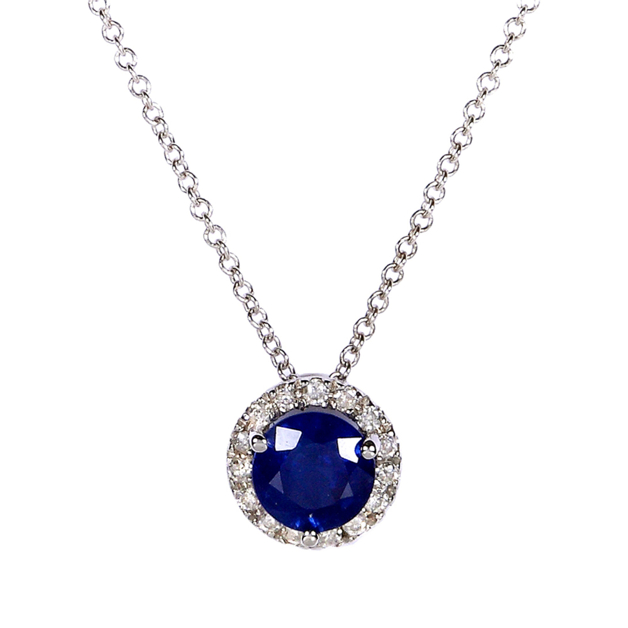 Round Blue Sapphire and Diamond Necklace 7 8 Carat (ctw) in 14k White Gold by