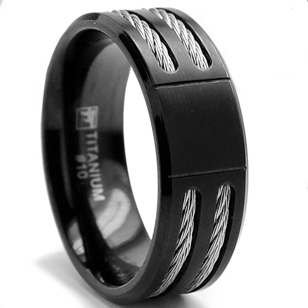 8MM Black Titanium ring Wedding band with Stainless Steel Cables
